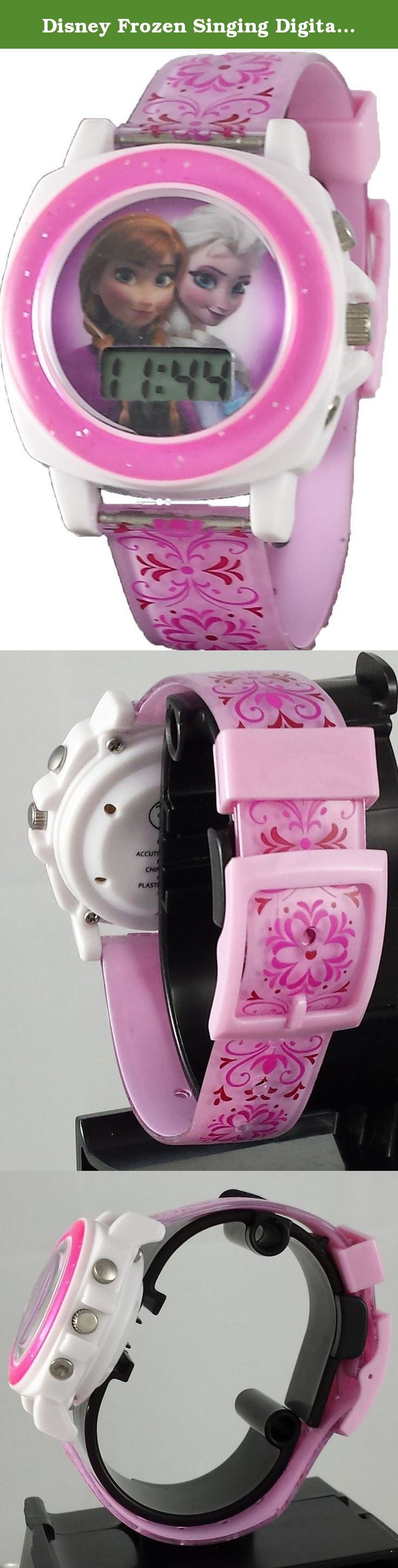 """Disney Frozen Singing Digital Watch. This plastic watch with Frozen graphic on dial and floral printed band. Press a button and you will hear the hit song """"Let it Go"""". This a great watch for that little Frozen fan in your life."""