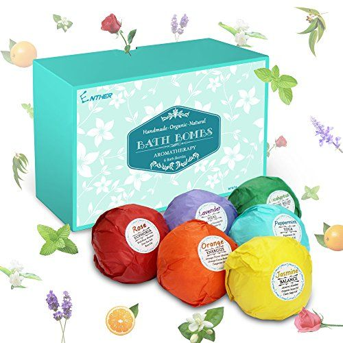 Enther Bath Bombs Gift Set 6 Pack Large Size (3.18 Oz/ea) Handmade Organic Essential Oil Bathbombs for Adults and Kids Perfect for Bubble Bath Pearl Aromatherapy Bath Bomb in Gift Box (Mixed)