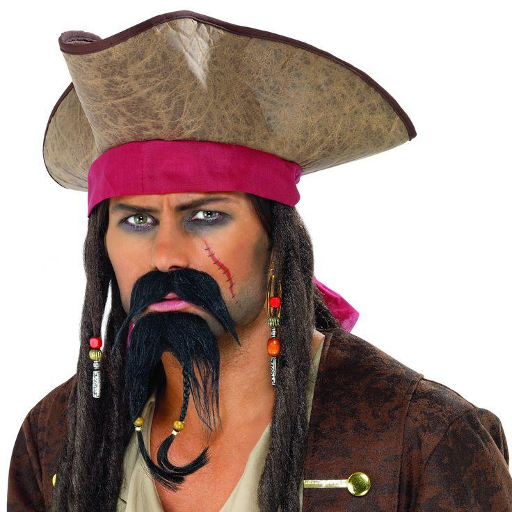 Piratenschnurrbart und Kinnbart für Erwachsene: Dieses Piratenset für Erwachsene besteht aus einem Schnurrbart und einem Kinnbart mit zwei Zöpfen mit einer Perle an jedem Zopfende. Dieses Set ist perfekt, um Ihre Piratenverkleidung für Karneval...