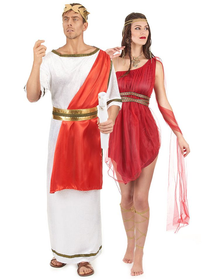 Déguisement de couple romain rouge adulte : Déguisement romain hommeCe déguisement de romain pour homme se compose d'une robe avec un drapé, une ceinture et un bandeau (chaussures non incluses).La robe toge de romain...