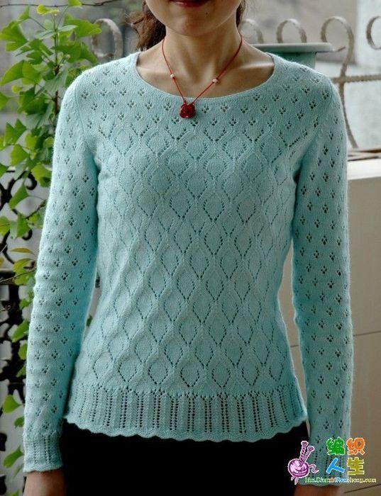 Пуловер ажурным узором схема. Женский пуловер с узором ромбами спицами.   Я Хозяйка