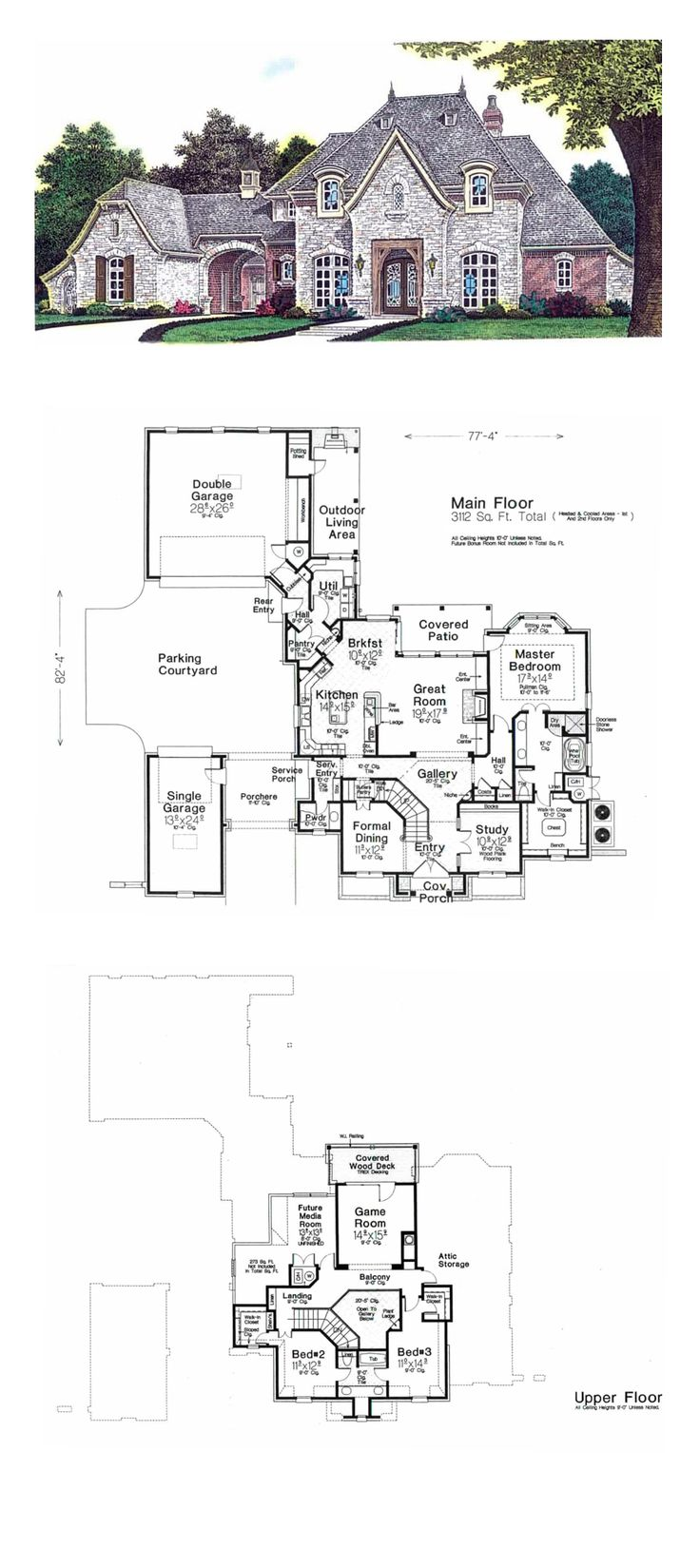 European House Plan 92230 | Total Living Area: 3112 sq. ft., 3 bedrooms and 2.5 bathrooms. #europeanhouse