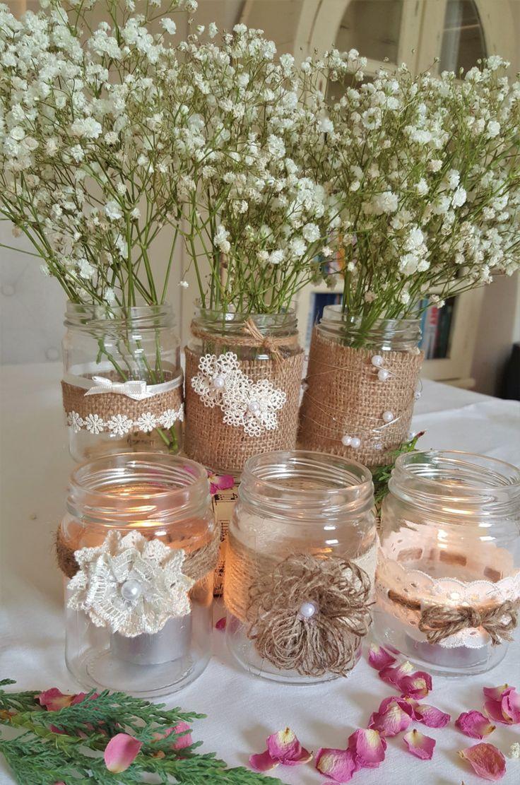 6 frascos de vidrio decoradas decoraciones de la boda por WattsCo
