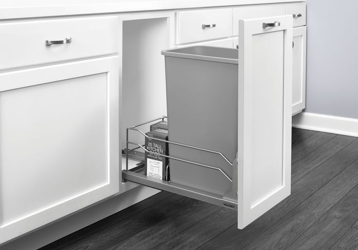 Rev-A-Shelf - 53WC-1550SCDM-117 - Single 50 Qt. Pull-Out Silver Waste Container with Soft-Close Slides