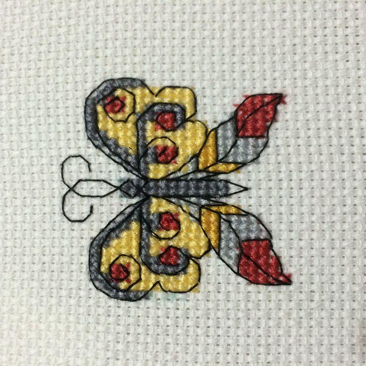 Butterfly cross stitch kelebek etamin