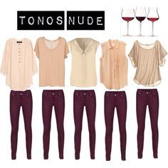 Burgundy Jeans + Nude blouse
