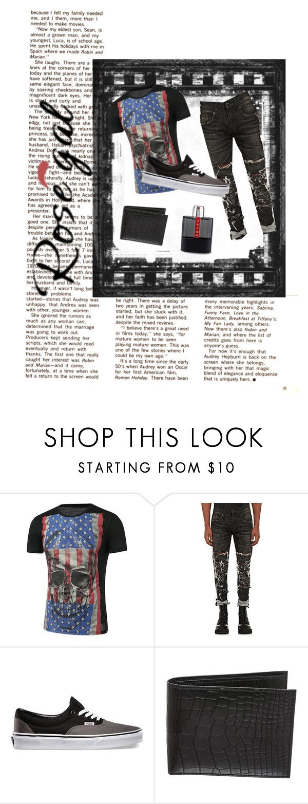 """""""#rosegal #skull #3d"""" by tianna-rose-richardson ❤ liked on Polyvore featuring R13, Vans, Hermès, Prada, men's fashion and menswear"""