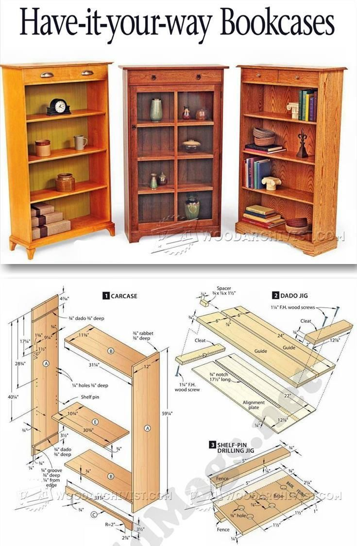 Bookcases Plans - Furniture Plans and Projects | http://WoodArchivist.com