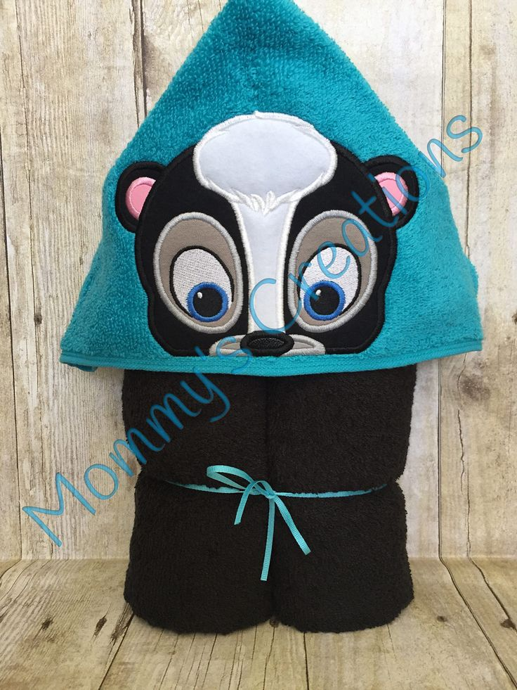 "Skunk Boy Applique Hooded Bath, Beach Towel, Cover Up 30"" x 54"" by MommysCraftCreations on Etsy"