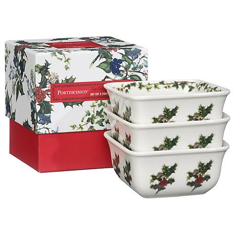 Buy Portmeirion The Holly and The Ivy Mini Square Dishes, Set of 3 Online at johnlewis.com