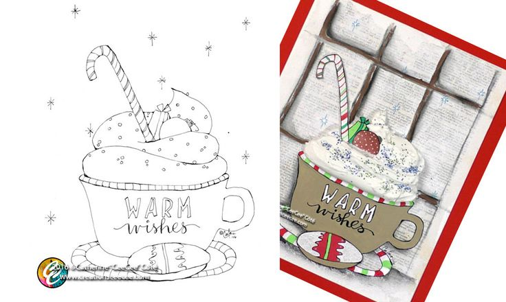 printable coloring page - warm wishes by creationsCeeCee on Etsy