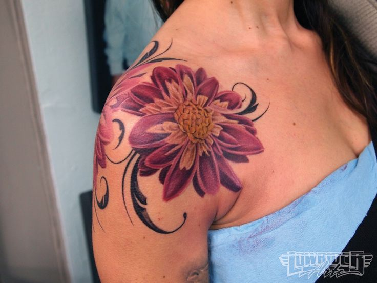 colorful rose shoulder tattoos