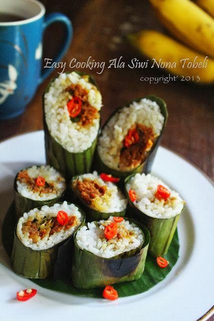 Lontong Isi Bakar Bumbu Kemangi - Rice Rolls Roasted with Herbs Basil