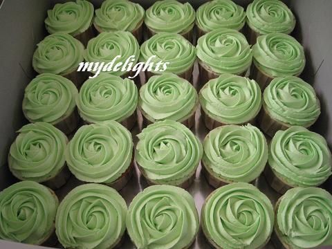 Apple Green Cupcake Roses for wedding reception - More cupcake roses in apple green for a wedding reception.