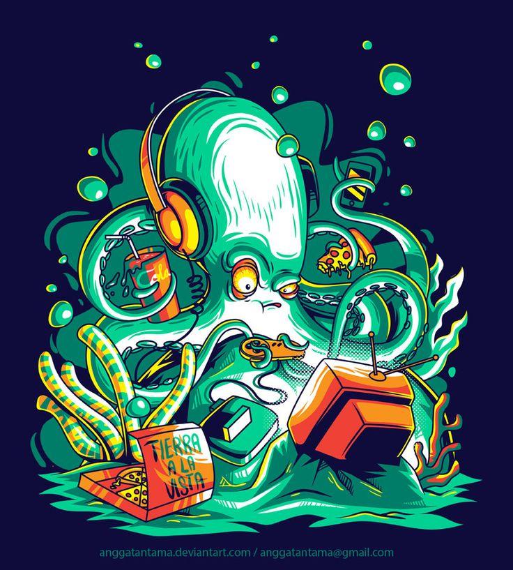 Octopus the Gamer by anggatantama.deviantart.com on @DeviantArt