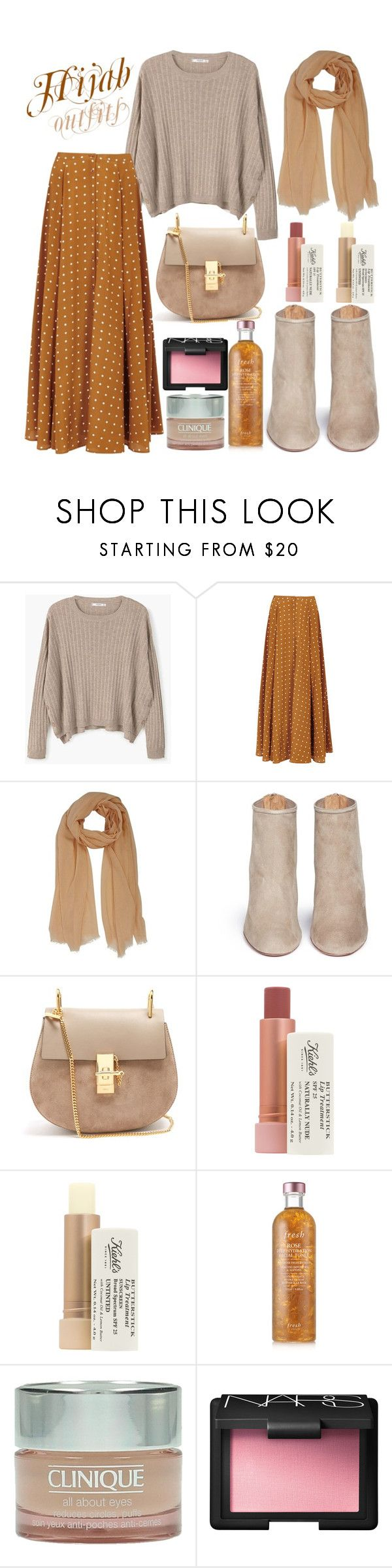 """#Hijab_outfits #Beige"" by mennah-ibrahim ❤ liked on Polyvore featuring MANGO, Diane Von Furstenberg, Aquazzura, Chloé, Kiehl's, Fresh, Clinique and NARS Cosmetics"