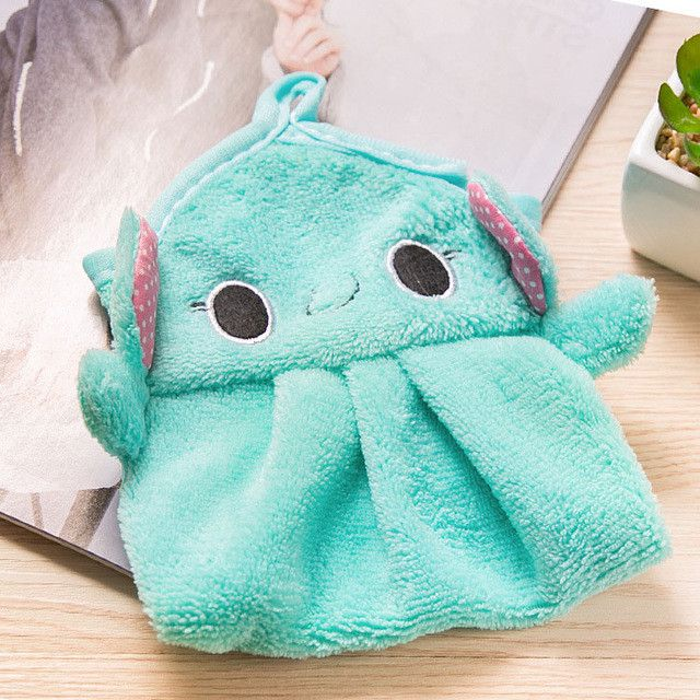 Baby Nursery Hand Towel baby bath towels Toddler Soft Plush Cartoon Animal Wipe Hanging Bathing Towel For Children Bathroom 2016