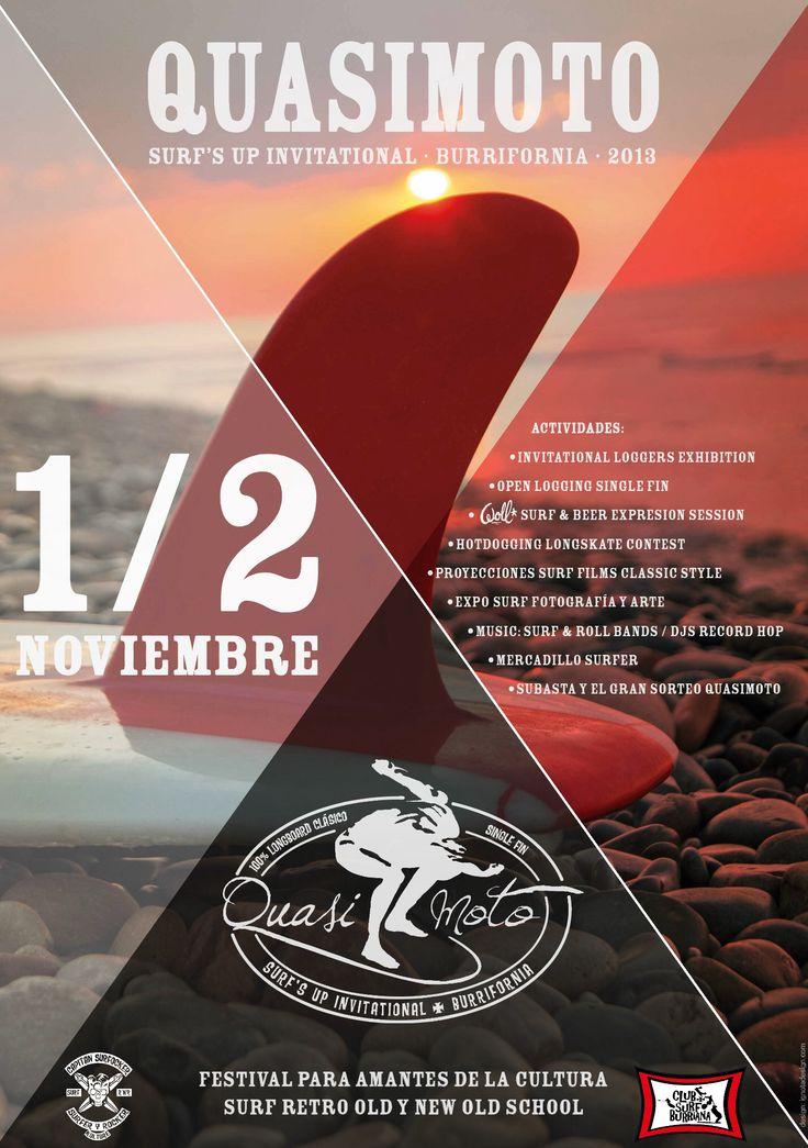Quasimoto Surf's Up Invitational Burrifornia 2013. Graphic Design by Ignota Design.  Surf Classic, longboard, single fin, surf old school