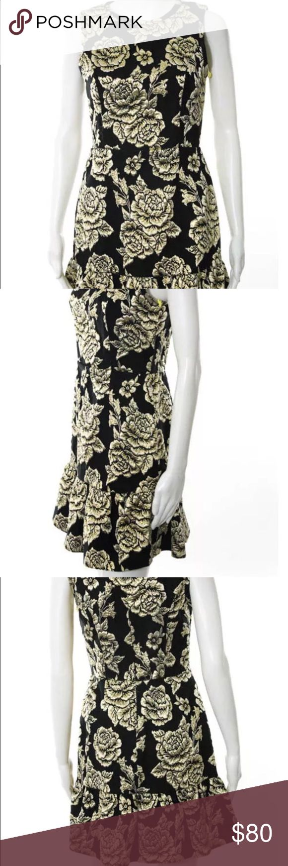 CeCe Dress Black Gold Embroidered Night Out Dress CeCe by Cynthia Steffe Dresses Mini