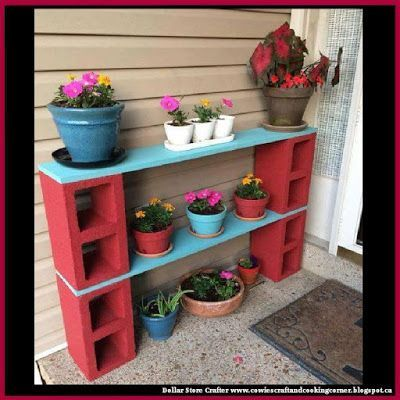 Dollar Store Crafter: Cinder Block Plant Stand / Shelf