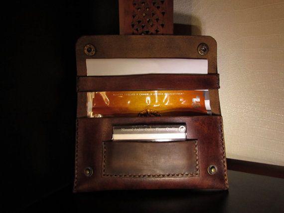 chiste tiene tabaco marrón cuero vintage por monguyleather en Etsy