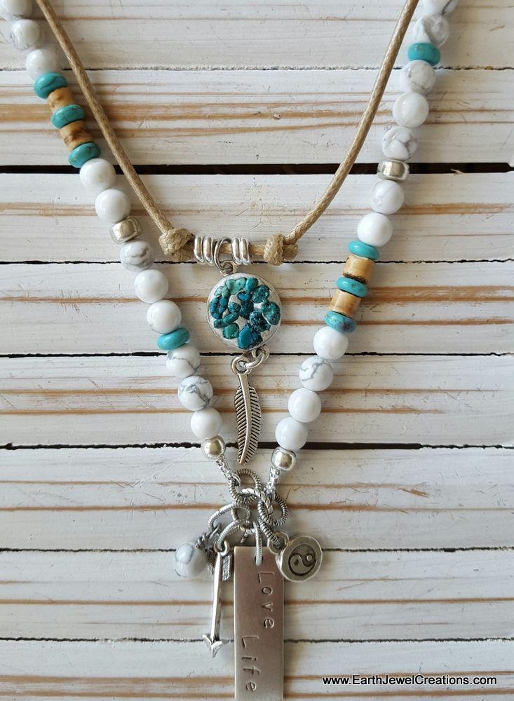 White gemstone necklace, turquoise, word jewelry inspiration, crystal jewellery, vegan jewelry