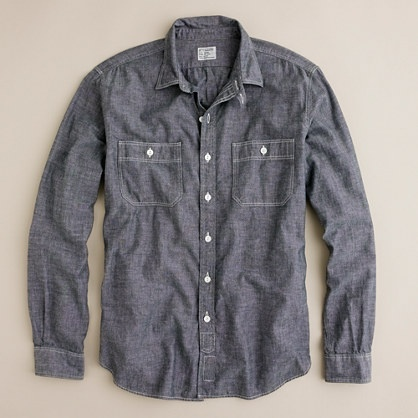 Grey chambray utility shirt inspired by vintage workwear for Cuisine you chambray