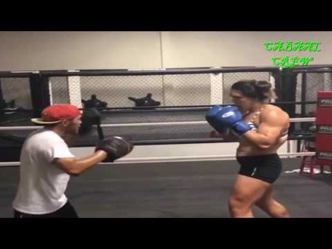 Gabi Garcia TOWERS Over Trainer, Smashes Pads Like They Stole From Her