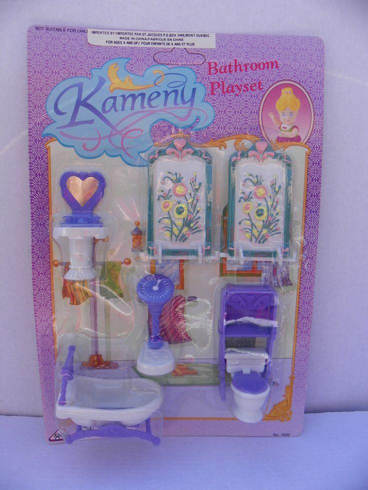 Vintage Kameny Dollhouse Furniture Set , 1970's Kameny Plastic Doll House Bathroom Set , Miniature Bathroom , Mini Bath Room , Diorama by ShersBears on Etsy