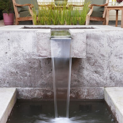 Concrete Scupper fountain; similar to one I photographed in 2012 in Atlanta by Turning Stone Designs
