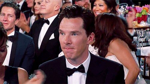 THE GOLDEN GLOBE AWARDS (January 11, 2015) ~ Benedict Cumberbatch's reaction when he hears his name in the list of nominees for Best Actor in a Motion Picture/Drama before the winner is announced. [Video/GIF]