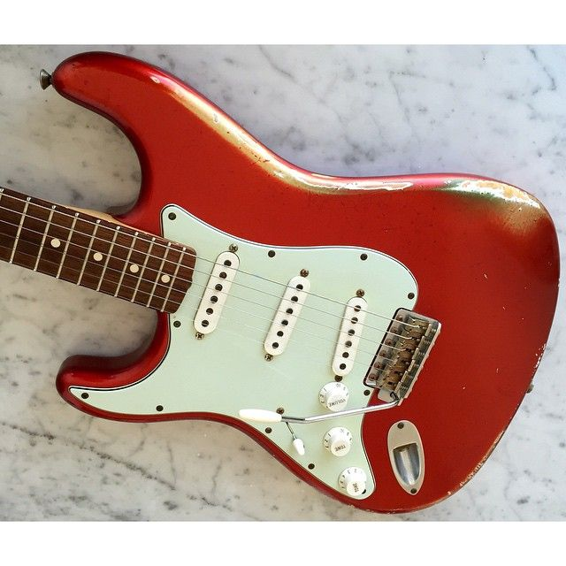 A thing of beauty: 1960 Heavy Relic Fender Stratocaster CS.  I almost sold this one a short time ago. Luckily I rediscovered it and here I am playing it every single day.