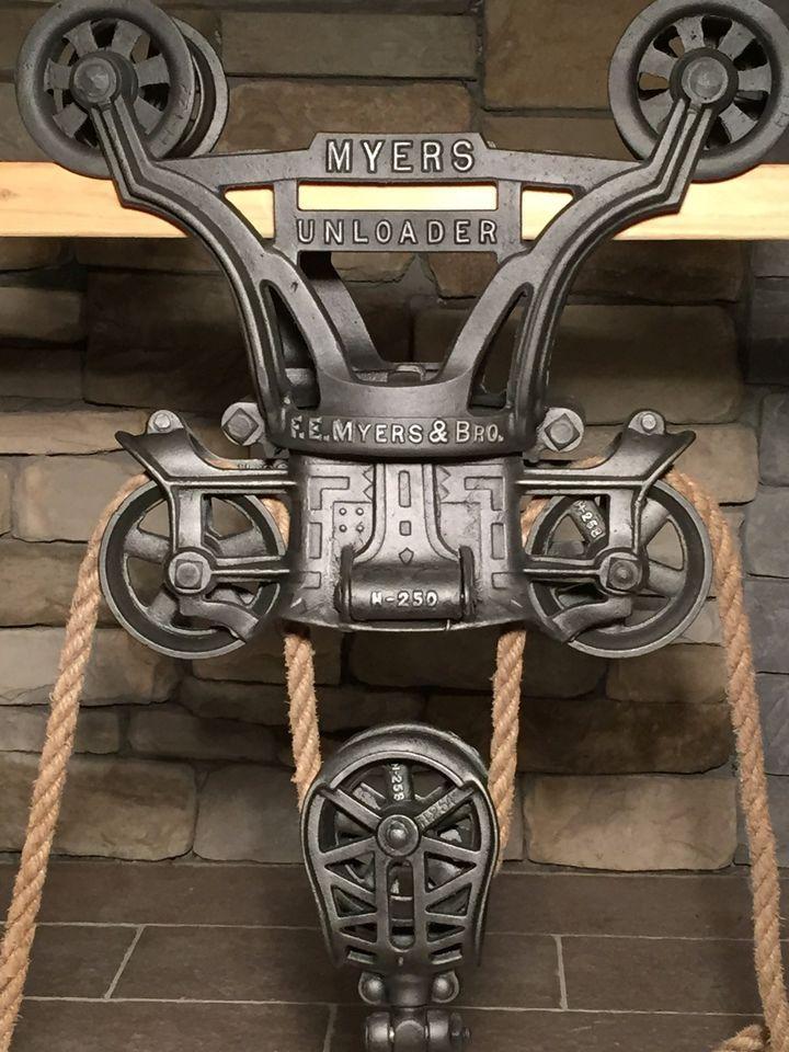 Antique hay trolley cast iron farm tool hay pulley barn unloader vintage
