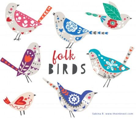 CLIP ART - Folk Birds - for commercial and personal use