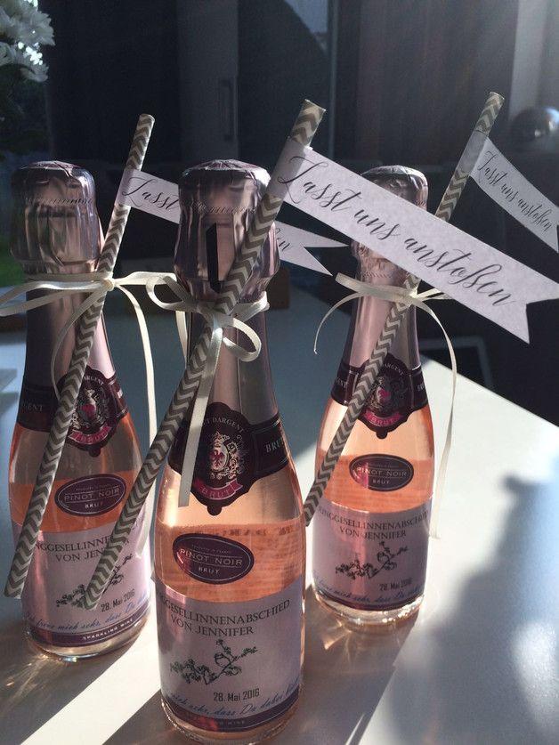 Sekt der Marke BRUT DARGENT mit deinem individuellen Etikett und Papier-Trinkhalm - 200ml 11,5% Vol. - Preis je Flasche. Ideal für unterwegs z. B. für Junggesellenabschiede, Faschingsparties und...