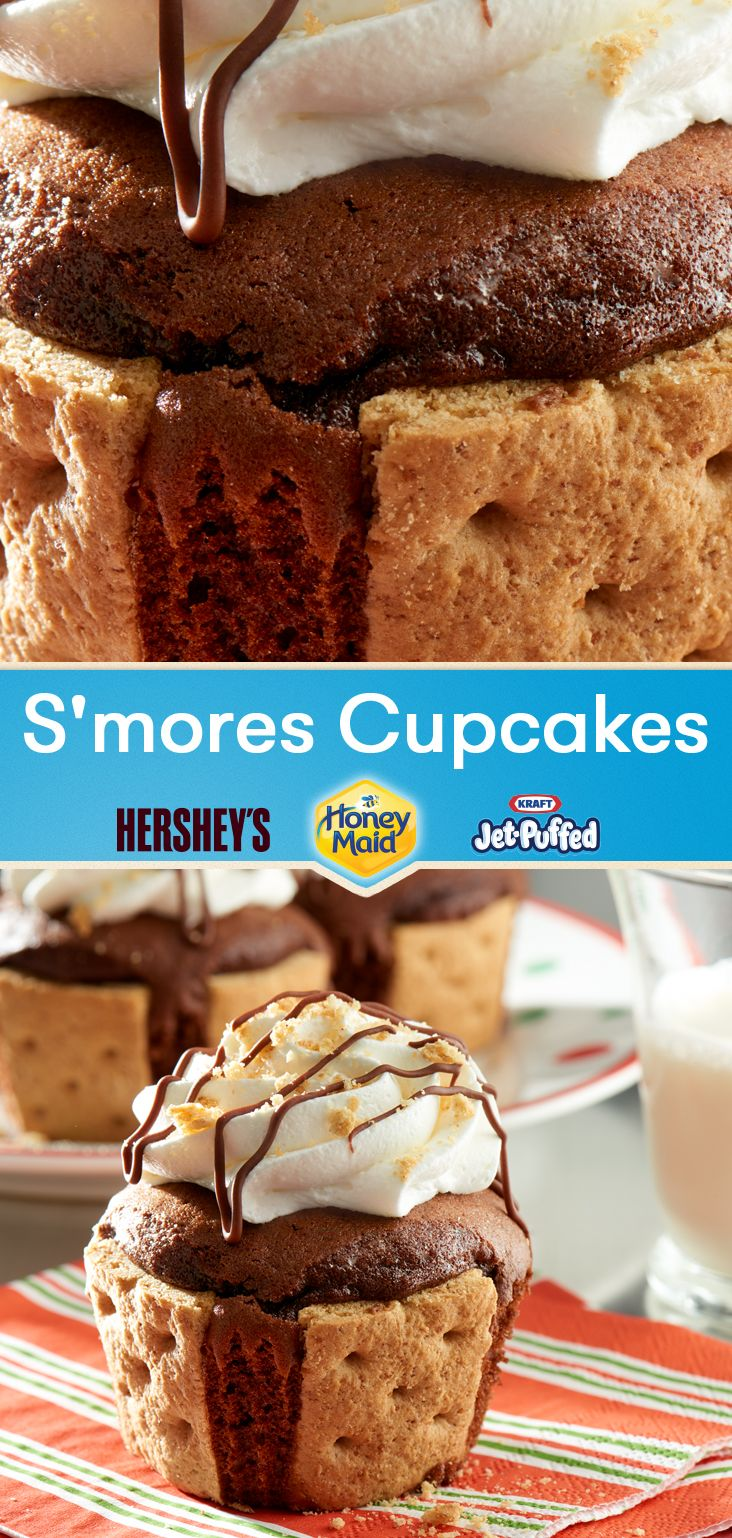 Go all out for #SmoresSaturday with this delightful new twist on summer's favorite treat! S'mores Cupcakes use each of the t… | #SmoresSaturday Recipes in 2019 | Dessert recipes, Cupcake cakes, Cupcake recipes