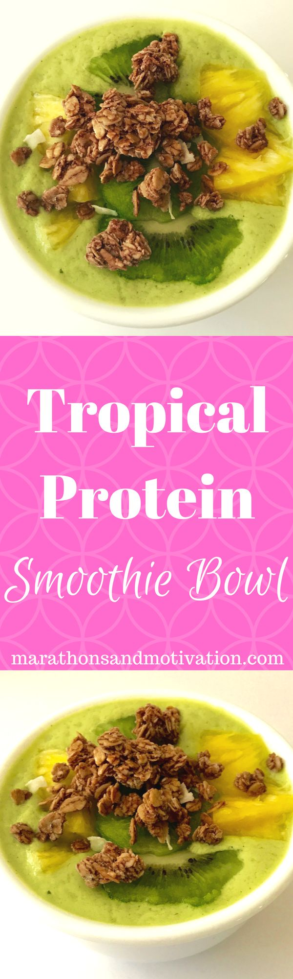 Tropical Protein Smoothie Bowl: The perfect protein filled breakfast recipe made with greek yogurt, spinach, coconut milk, kiwi, mango, and pineapple