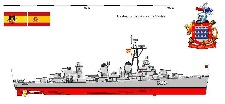 """Perfiles navales.D-23 Almirante Valdés 1957. Los """"Cinco Latinos"""" eran los destructores de la """"Clase Fletcher, que representaron un salto tecnológico muy grande para la Armada Española manteniéndose durante varias décadas como los mejores escoltas de que disponía España. En su momento vinieron a tomar el relevo de los destructores de la """"Clase Churruca"""" (Scout class), muy marineros y también excelentes pero ya muy superados en cuanto a armamento y tecnología."""