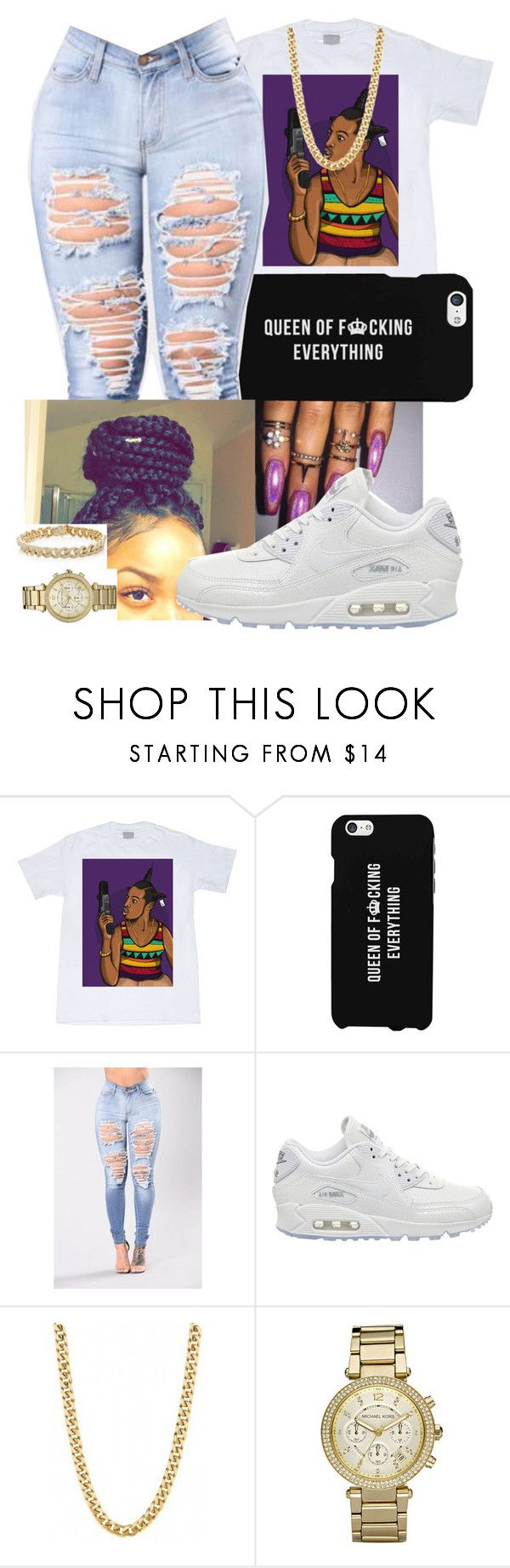 """""""Hey y'all"""" by wesal2lit101 ❤ liked on Polyvore featuring LG, NIKE, Michael Kors and Sydney Evan"""