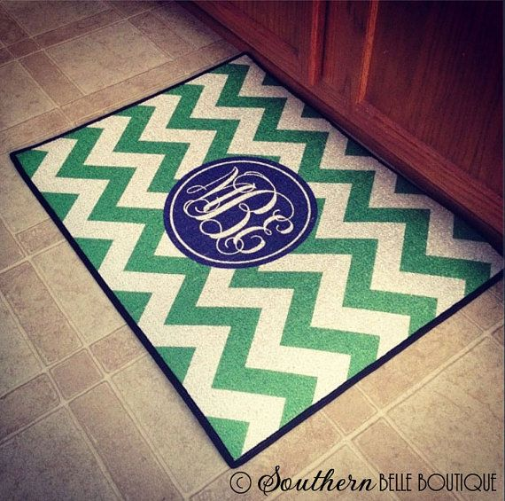 super cute monogrammed mat; i would want black and red for my kitchen