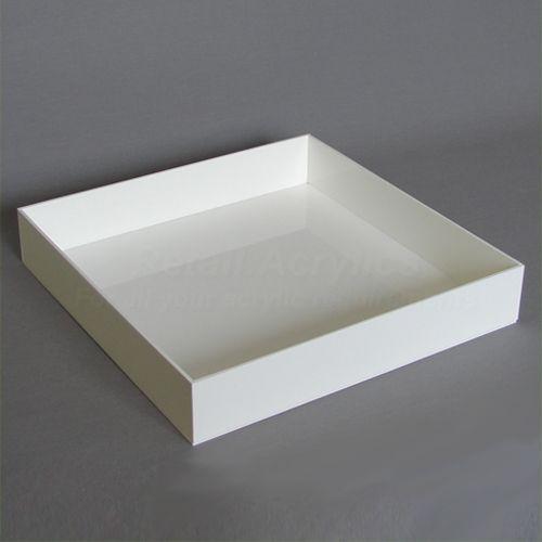 15cm – Square Acrylic Tray - White
