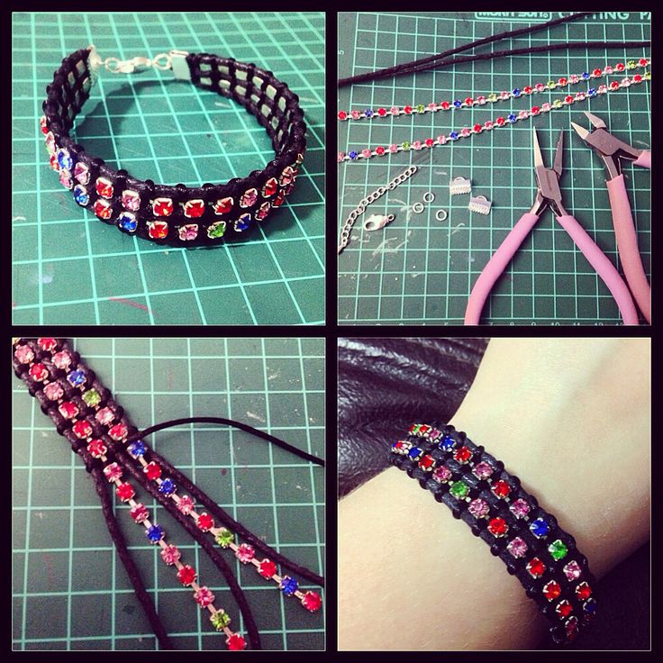 [Rhinestone and Leather Bracelet] Another trial from a pattern found on Pintetest!