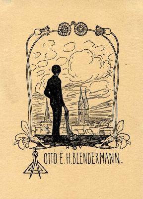 Bookplate by Heinrich Johann Vogeler for Otto E. H. Blendermann, 1897