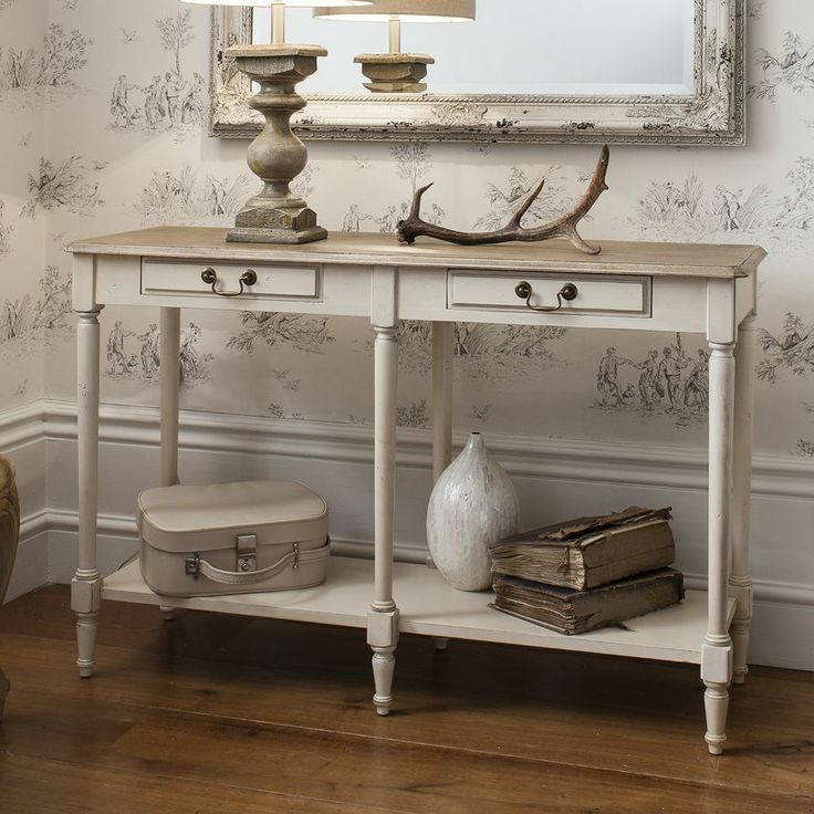 Albany Cream Wood Two Drawer Console Table Hallway FurnitureLiving