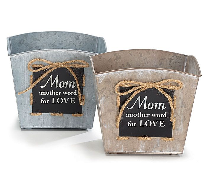 """Mother's Day Planters with """"Mom another word for LOVE"""" message on a chalkboard finish make a great gift by adding a colorful arrangement! #burtonandburton #mothersday"""