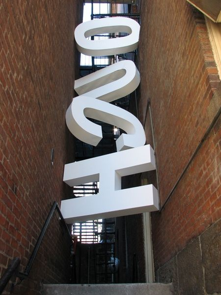 Ouch. #signage #design #sign #3D #letters #typography #white #wayfinding #wall #building
