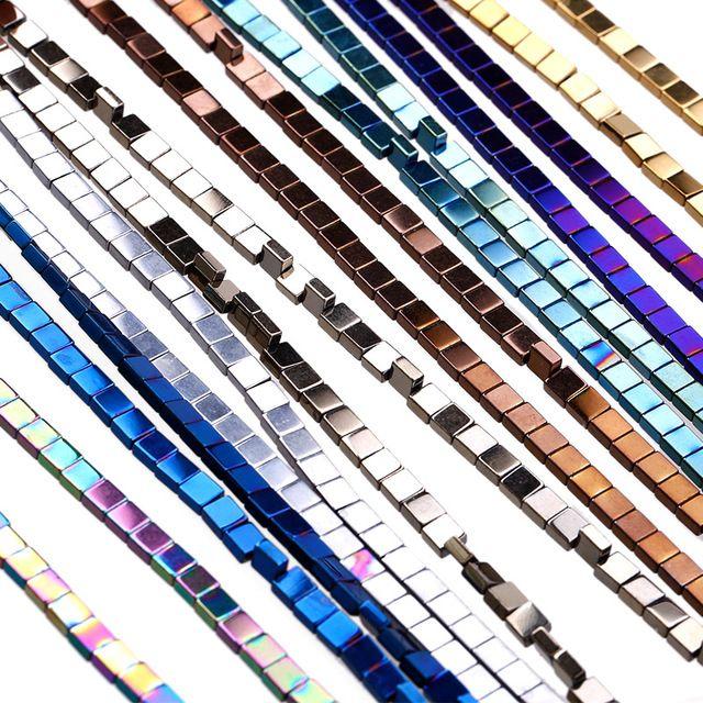 Mode diy schmuck machen Großhandel 8 farbe hämatit beschichtet naturstein hämatit cube platz lose spacer perlen strang 4mm