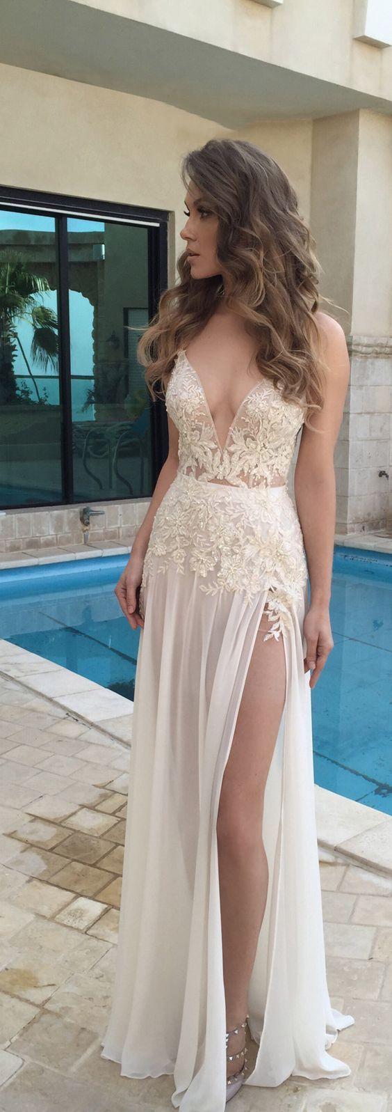 deep v-neck long prom dress applique sleeveless evening dress with high slit,HS268 #EveningDresses #homecomingdresses