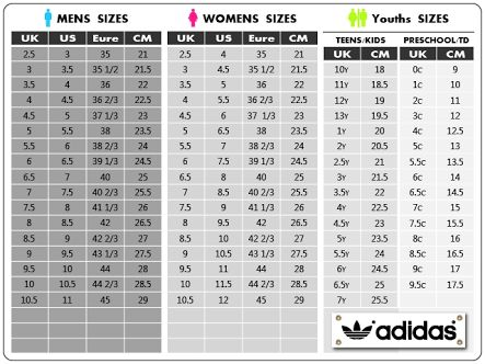 womens shoe size to mens adidas