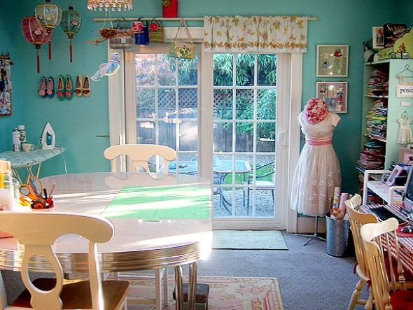 Sewing Room Design Ideas craft room design ideas pictures remodel and decor are those drying racks on the walls for wrapping paper Sewing Room Design Fabulous Adorable Great Sewing Room Design Idea With Calming Blue Wall